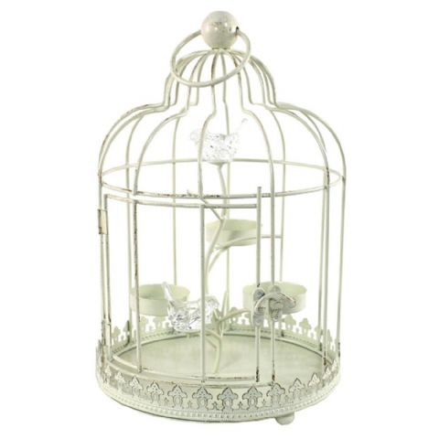 Cream Metal Bird Cage Candle Holder